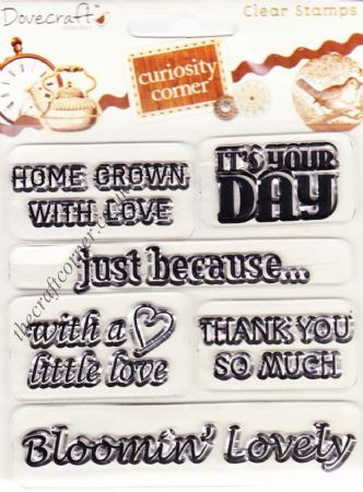With A LIttle Love & Other Greetings 6 Clear Unmounted Rubber Stamps by Dovecraft